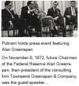 1972 - Putnam holds press event featuring Alan Greenspan