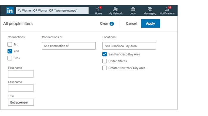LinkedIn search screen