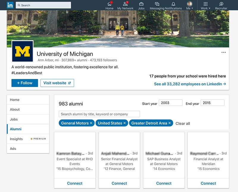 Alumni search tool
