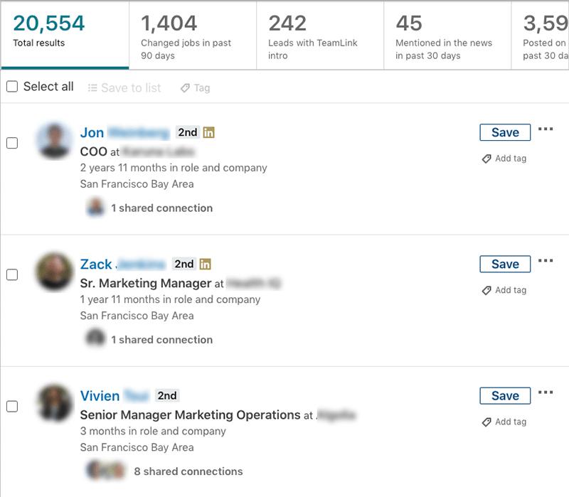 Sales Navigator results