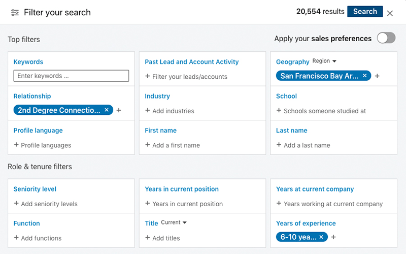 Sales Navigator Search