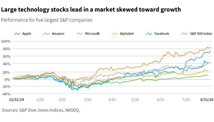 Large technology stocks lead in a market skewed towards growth