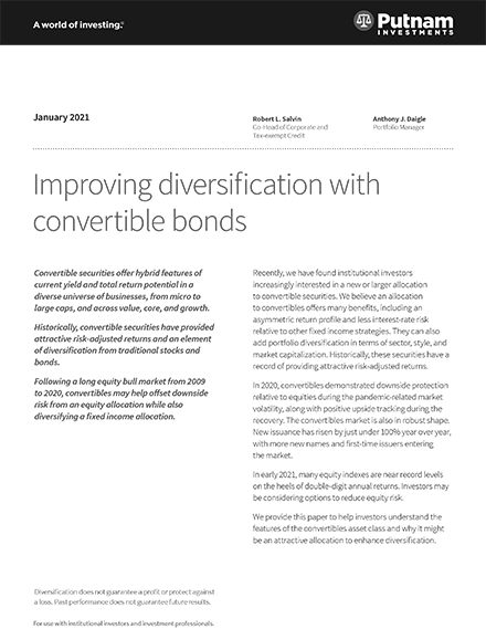 Improving diversification with convertible bonds